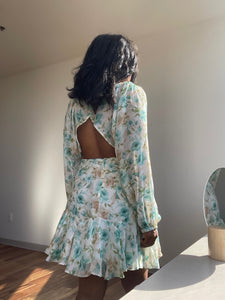 Lonnie Open Back Floral Dress In Sage