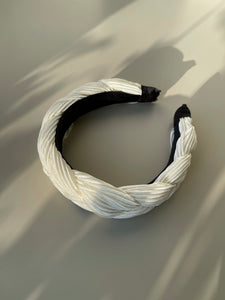 Pleated Braided Headband In Ivory