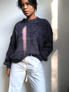 Morgan Balloon Sleeve Sweater In Navy