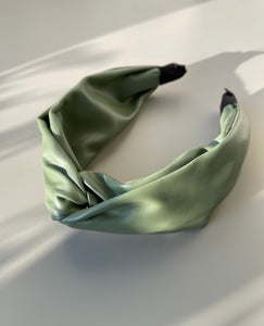Marcies Top Knot Vegan Leather Headband In Sage