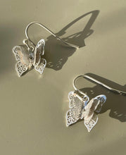 Load image into Gallery viewer, Double Flutter Butterfly Fish Hook Earring In Matte Silver