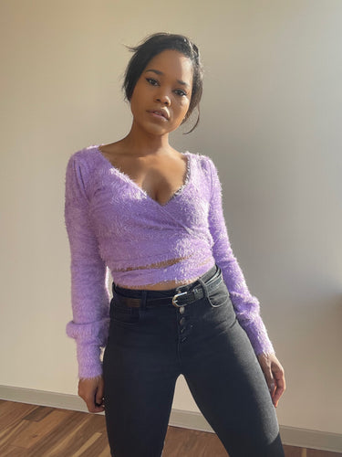 Rena Fuzzy Wrap Sweater In Lavender