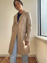 Load image into Gallery viewer, Notch Collar Vegan Leather Coat In Camel