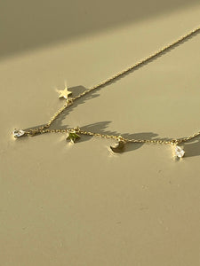 Star Moon & Teardrop Charm Necklace In Gold