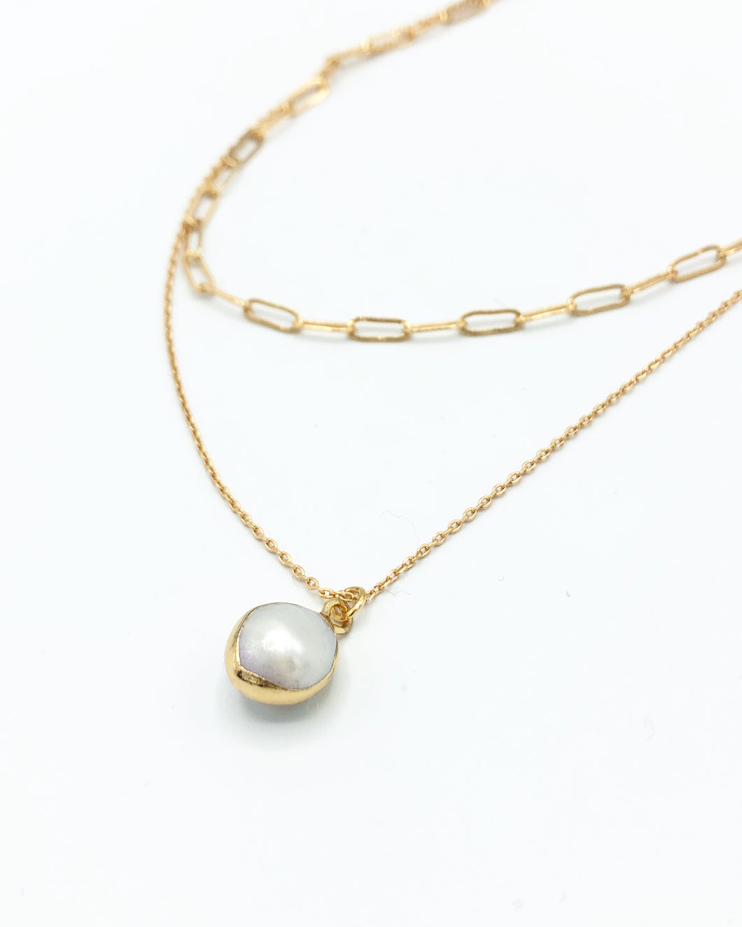 Layered Link Freshwater Pearl Necklace In Gold