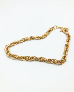 Triple Tri Link Chunky Chain Necklace In Gold