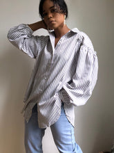 Load image into Gallery viewer, Aidan Oversized Ruffled Shoulder Button Down