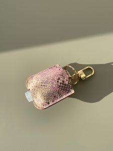 Metallic Snake Skin Hand Sanitizer Holder In Blush