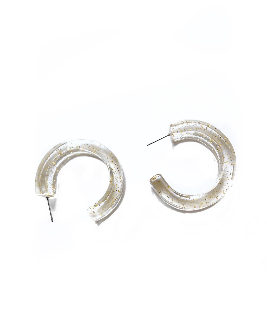 Glitter and Gold Translucent Hoop Earring