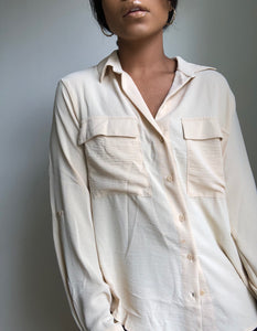 Stacy Classic Button Down Long Sleeve In Taupe
