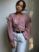 Load image into Gallery viewer, Annie Ruffled Balloon Sleeve Crop Top In Dust Lavender