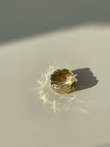 Renee Crinkled Hammered Artisan Ring In Gold