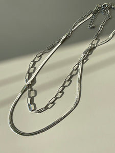 Link Layered Snake Necklace In Sliver