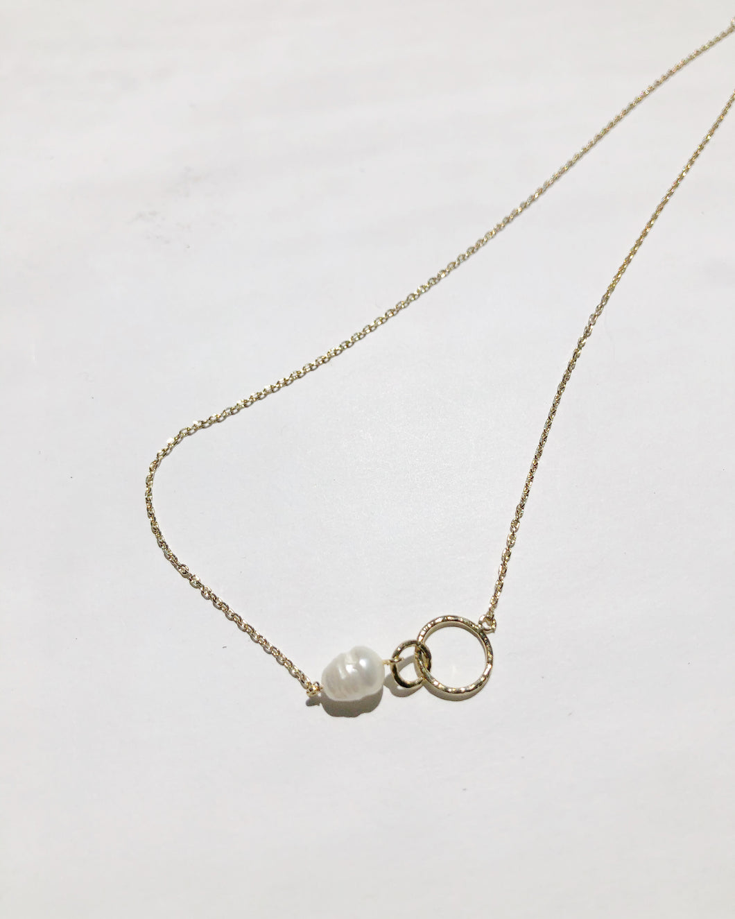 Freshwater Pearl With Mini Hoop Necklace