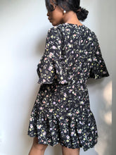 Load image into Gallery viewer, Dana Floral Ruffled Sleeve Dress In Black