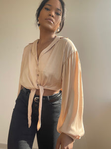 Tuli Button Front Tie Shirt In Tan