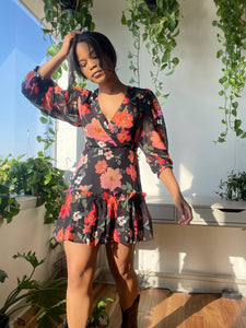 Zion Puff Sleeve Flower Mini Dress