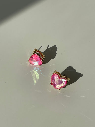 Maggie Icon Heart Stud Earring In Pink