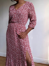 Load image into Gallery viewer, Audra Floral 3/4 Sleeve Midi Dress In Rust