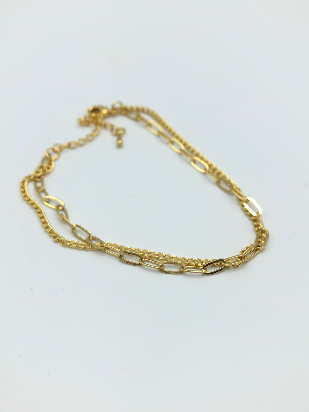 Double Chain Link Bracelet In Gloss Gold