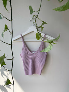 Cory Cropped Ribbed Tank Top In Lavender