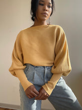 Load image into Gallery viewer, Corey Balloon Sleeve Cropped Sweater In Mustard