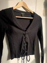 Load image into Gallery viewer, Kyle Front Corset Long Sleeve Top In Black