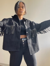 Load image into Gallery viewer, Mable Fringe Denim Jacket In Black