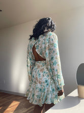 Load image into Gallery viewer, Lonnie Open Back Floral Dress In Sage