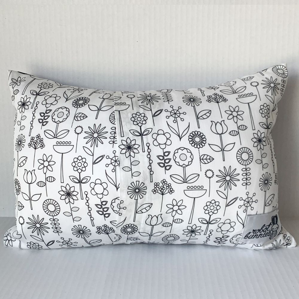 RBG Pillow w Black & White Floral Back