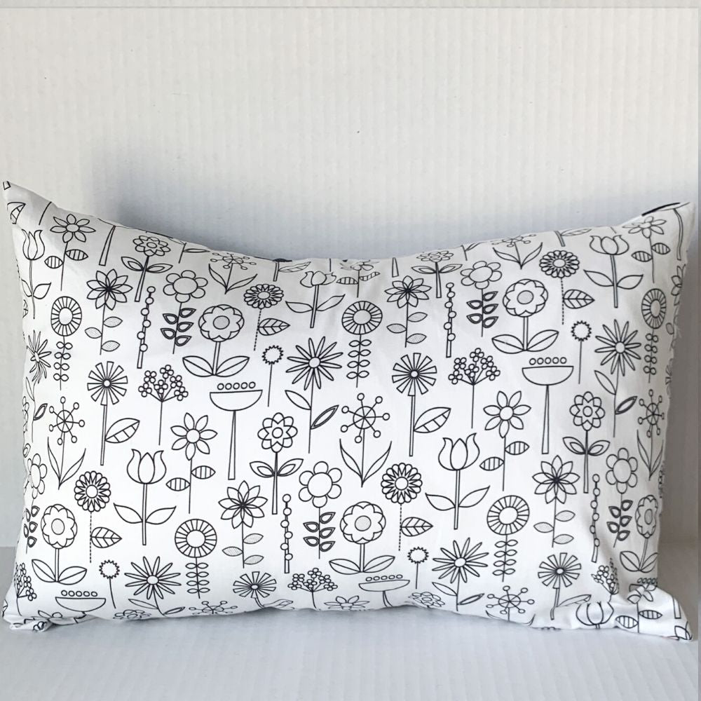 Black & White Floral Pillow w RBG Back