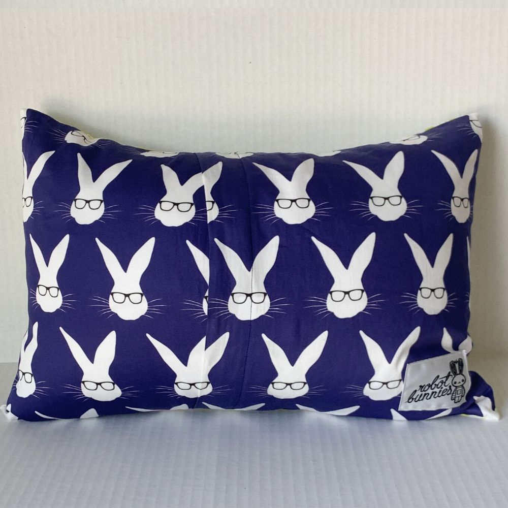 Graffiti Pillow w/ Navy Bunnies Back