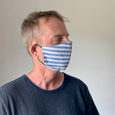 Luxe Face Mask 2.0 - Blue & White Stripe