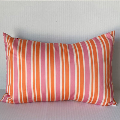 Pink & Orange Stripe Pillow w Scandi Floral Back