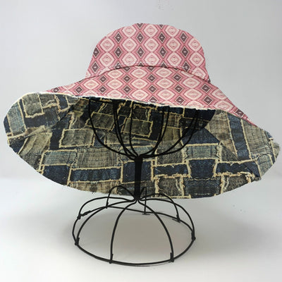 Riviera 1970 Sun Hat - Red Print & Faux Frayed Denim