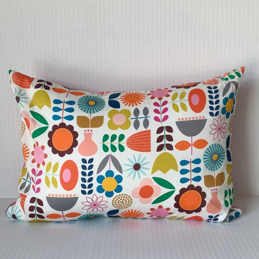 Scandi Floral Pillow w Pink & Orange Striped Back
