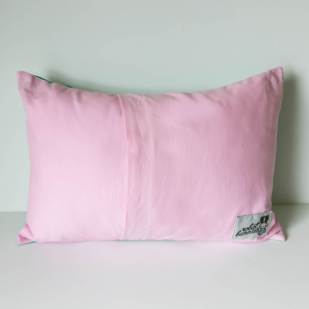 Kelly Striped Pillow w Pink Back
