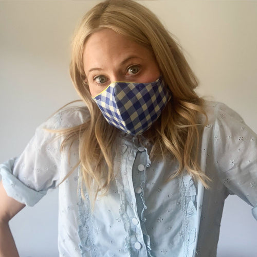 Luxe Face Mask 2.0 - Hand-Painted Blue Gingham