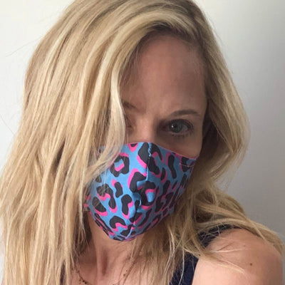 Luxe Face Mask 2.0 - Leopard (Blue & Pink)
