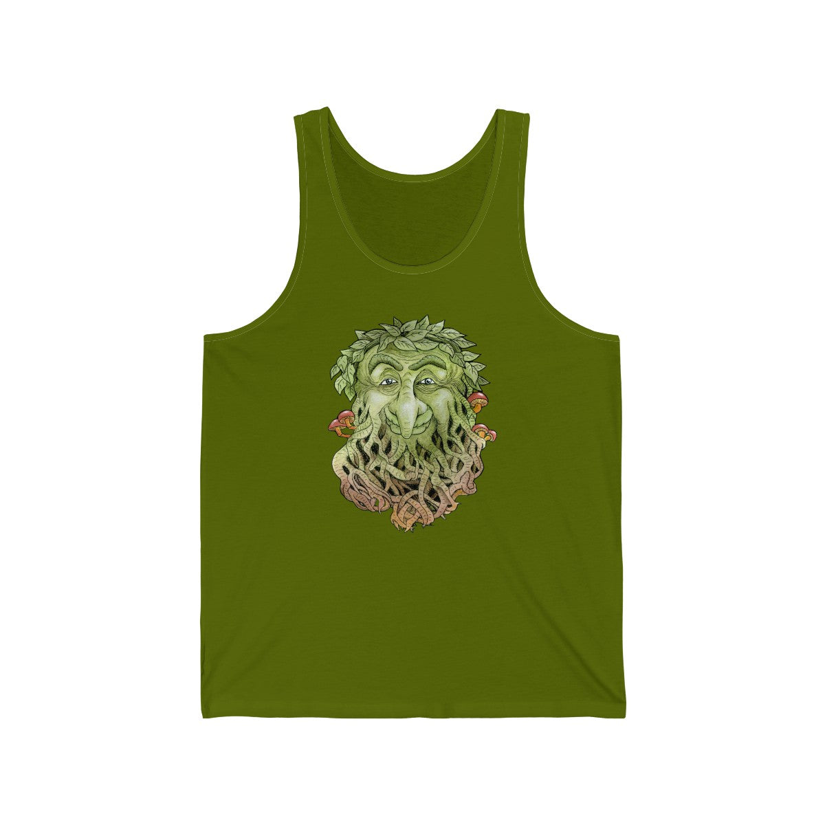 Greenman Unisex Jersey Tank Top in Leaf Green color