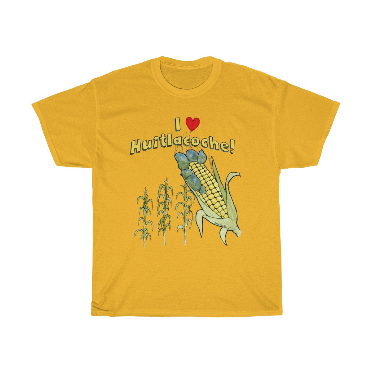 I love Huitlacoche T-Shirt Golden Yellow Unisex Heavy Cotton Tee
