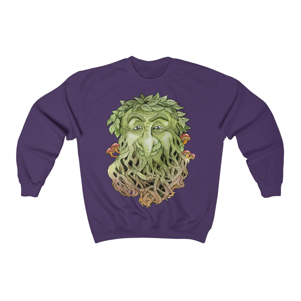 Greenman on purple Unisex Crewneck Sweatshirt