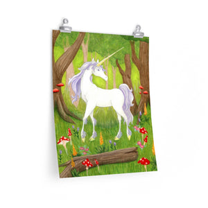 Unicorn in Enchanted Forest matte poster print