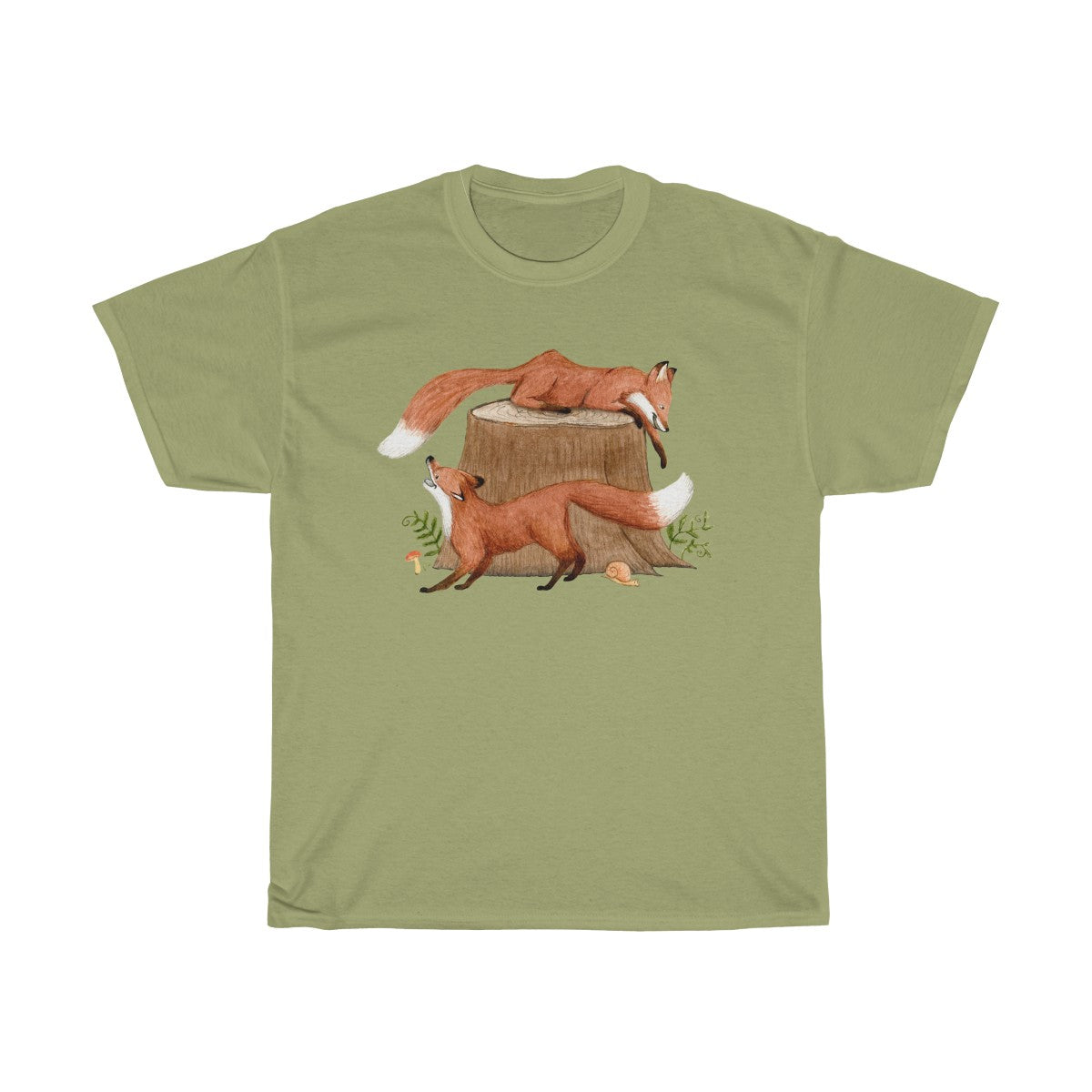 Foxes Playing on Tree Stump Unisex Cotton T-shirt Kiwi Green
