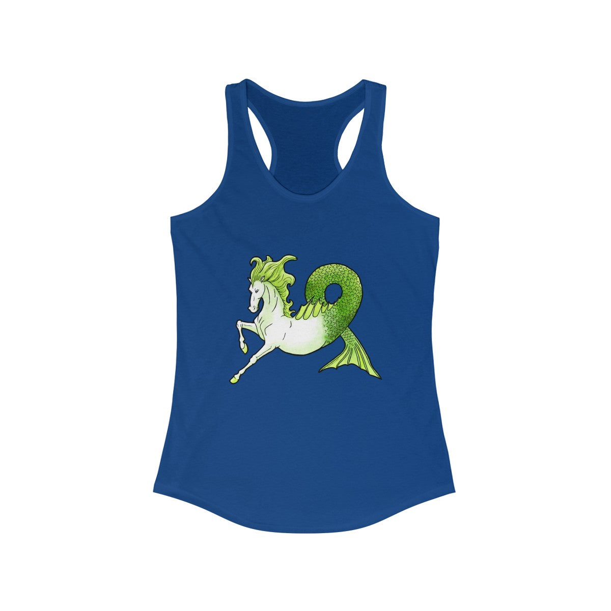 Hippocamp Kelpie Water Horse on Royal Blue Women's Racerback Tank