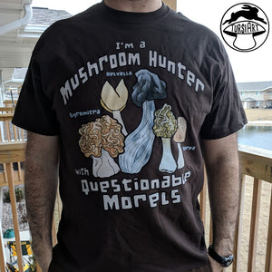 Questionable Morels Mushroom Pun Unisex Heavy Cotton Tee in dark chocolate color