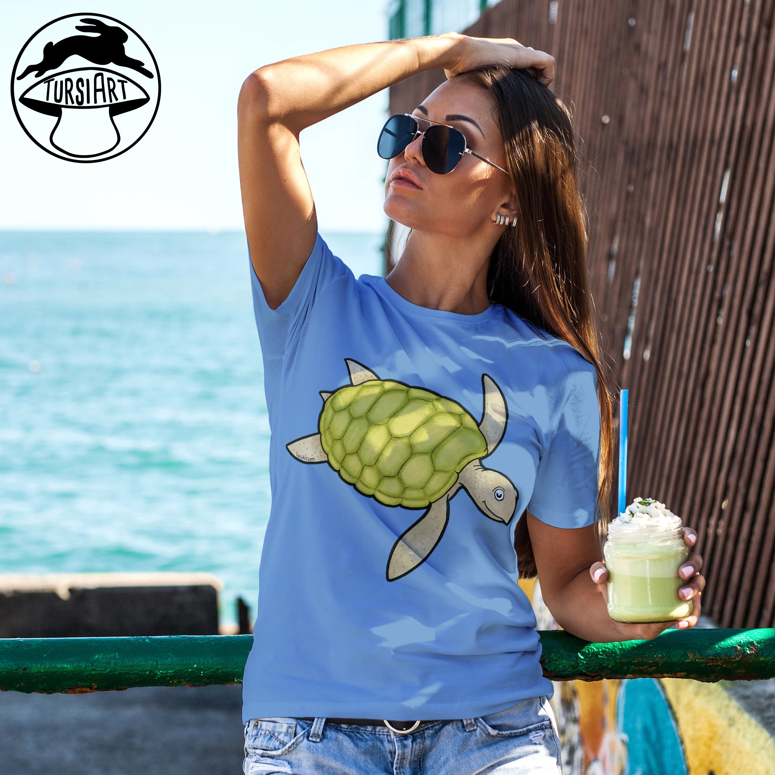 Sea Turtle Light Blue Unisex Cotton Tee