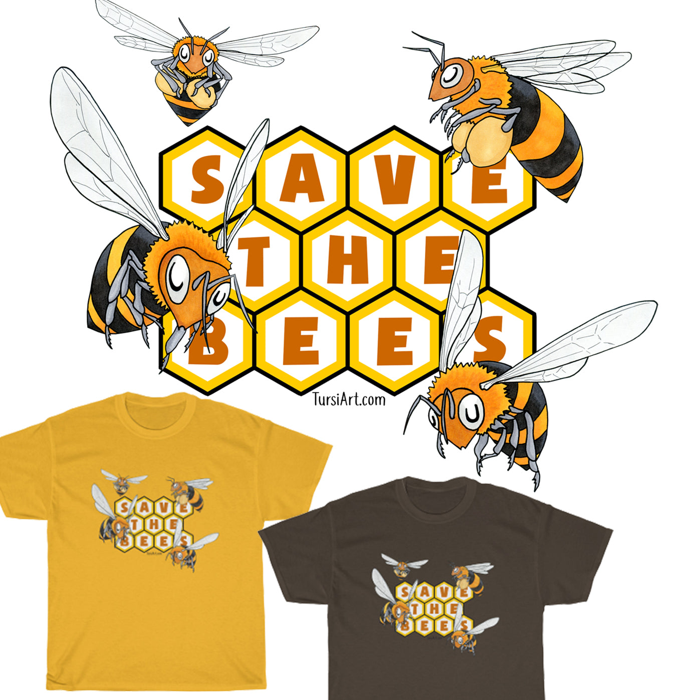 Save the Bees Unisex Cotton Tee in Gold or Chocolate Brown