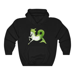 Hippocamp Kelpie Water Horse on Black Unisex Hooded Sweatshirt