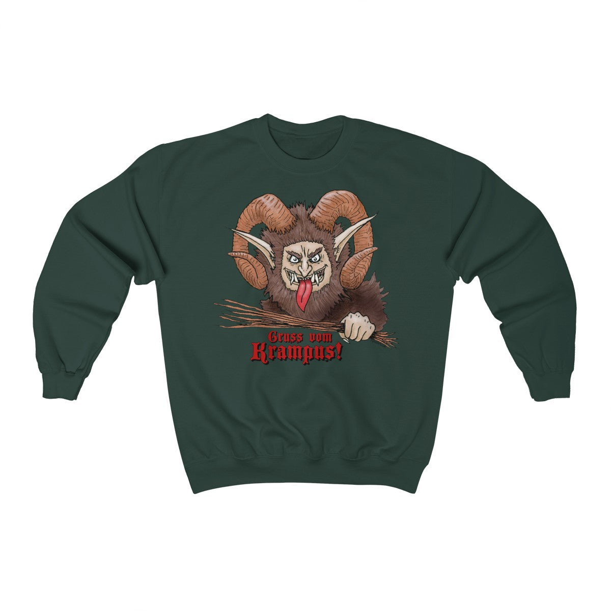 Krampus Christmas Sweater Forest Green Unisex Holiday Sweatshirt